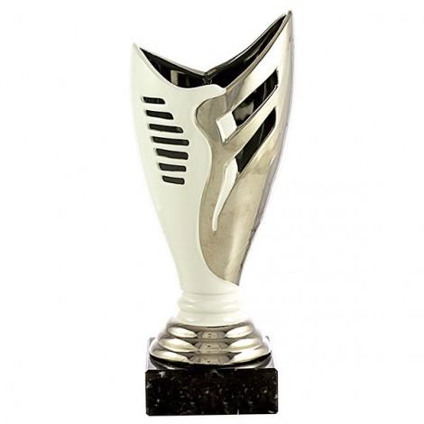 Trofeo cerámica  plata/blanco