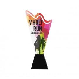 Trofeo de hierro impreso a todo color con peana de madera