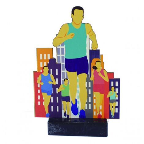 Trofeo de madera de atletismo masculino impreso a todo color