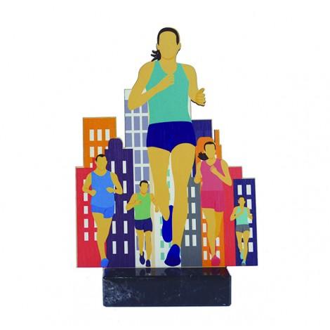 Trofeo de madera de atletismo femenino impreso a todo color
