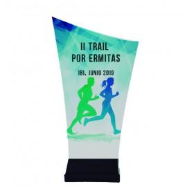 Trofeo de metacrilato impreso a todo color con peana de plástico