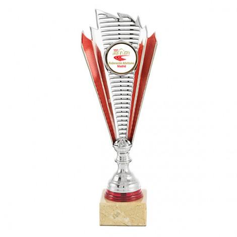 Trofeo portadiscos plata/rojo