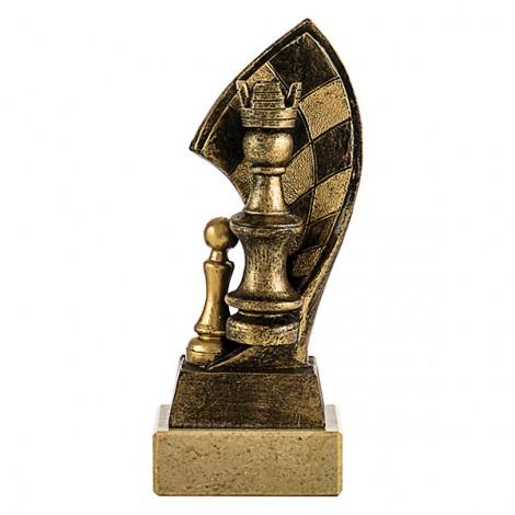 Trofeo de resina ajedrez decorada en oro viejo