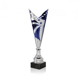 Trofeo cónico troquelado azul y plateado