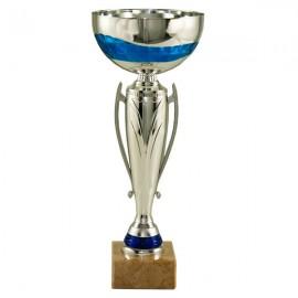 Trofeo plata/azul con asas