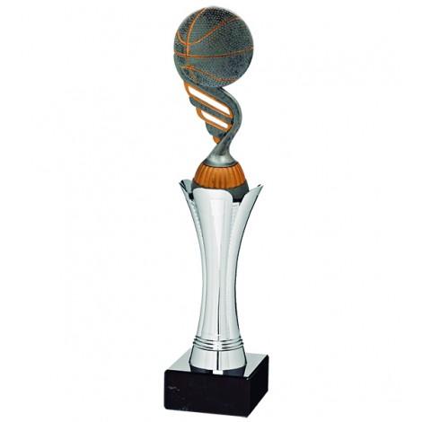 Trofeo plateado con aplique deportivo