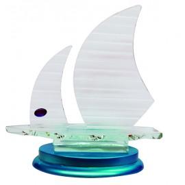 Barco cristal base azul