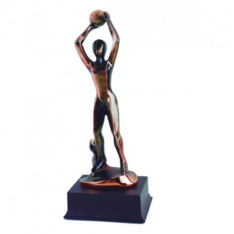Trofeo de resina de Baloncesto con acabado cobre