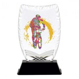 Trofeo acrílico impreso con deporte