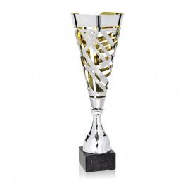 Trofeo cónico metálico figura abstracta