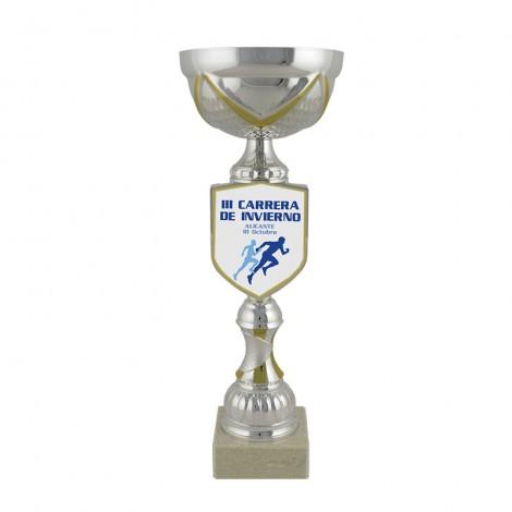 Trofeo plata/dorado c/aplique