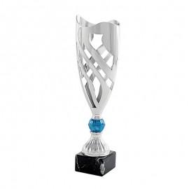 Trofeo geométrico plata/azul
