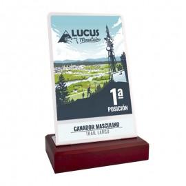 Trofeo forja rectangular con peana de madera impreso a color