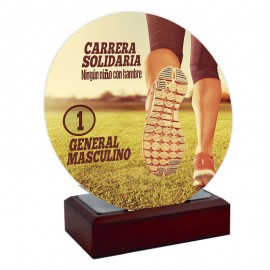 Trofeo forja  redondo con peana de madera impreso a color