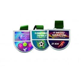 Medalla de zamack Serie 12 con pieza central de PVC reemplazable