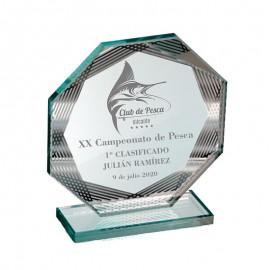 Trofeo cristal  tranparente octogonal
