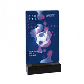 Trofeo rectangular metacrilato  impreso a color con peana de mármol