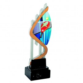 Trofeo resina con aplique acrílico de pádel impreso a color
