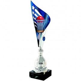 Trofeo azul y plata con aplique S3300