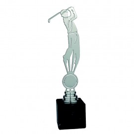 Trofeo golf metal plateado