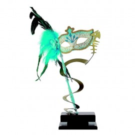 Trofeo carnaval con antifaz dorado y azul
