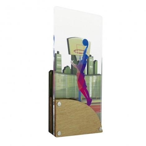 Trofeo de Baloncesto de metacrilato y madera