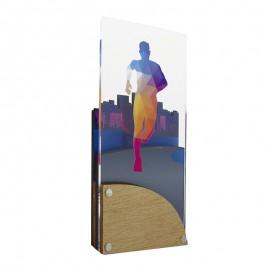 Trofeo de atletismo masculino de metacrilato y madera