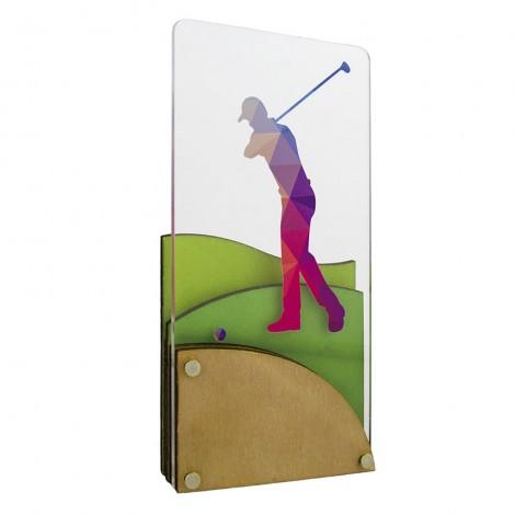 Trofeo de golf de metacrilato y madera