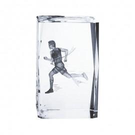 Trofeo de Atletismo de cristal con grabación 2D