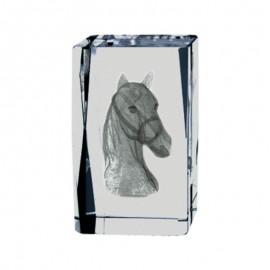 Trofeo de hípica de cristal con grabación 2D