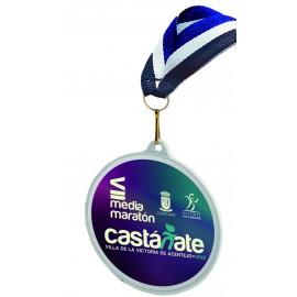 Medalla Serie 09 PVC Blanca impresa a todo color