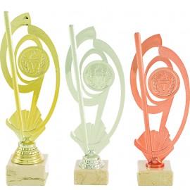 Trofeo portadiscos oro plata y bronce
